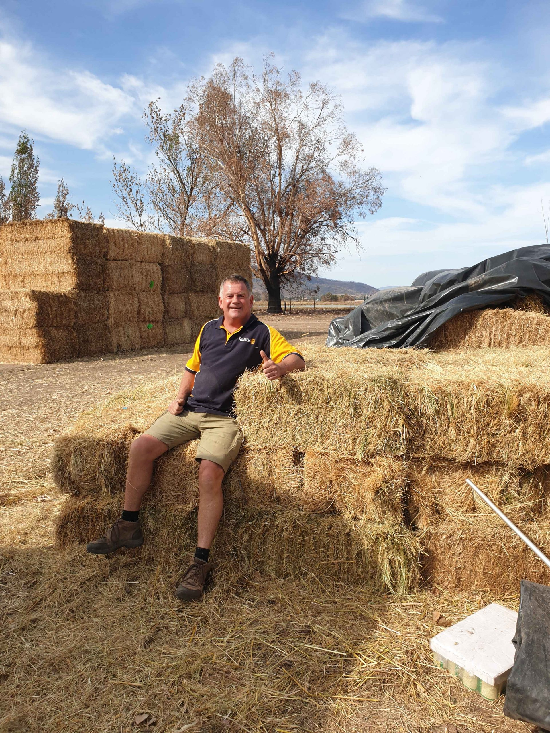 Delivering hay to the people burned out by bushfires